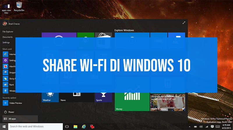 Share wifi di windows 10