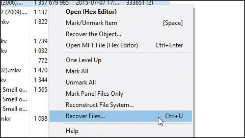 Pilih file yang ingin dikembalikan