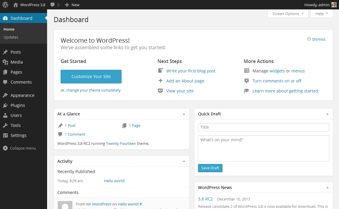 wordpress_default_dashboard - Cara Membuat Website