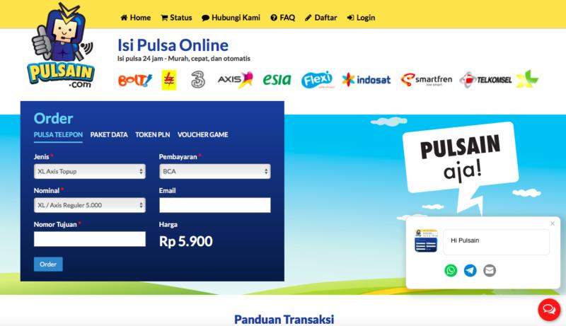 Screenshot homepage pulsain