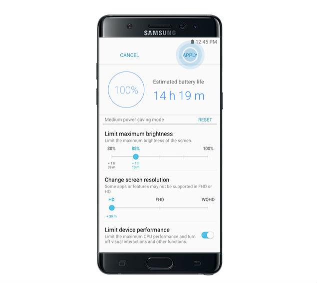 Galaxy Note 7 power saving mode
