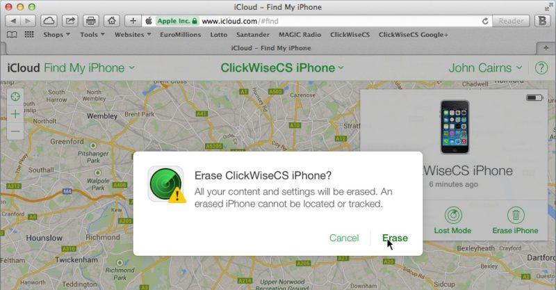 find my iphone erase