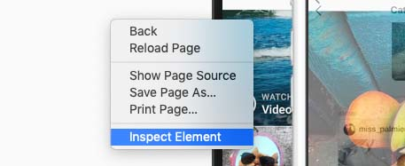 Inspect element Safari