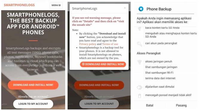 backup dengan smartphonelogs