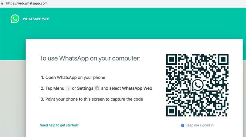 Whatsapp web homepage