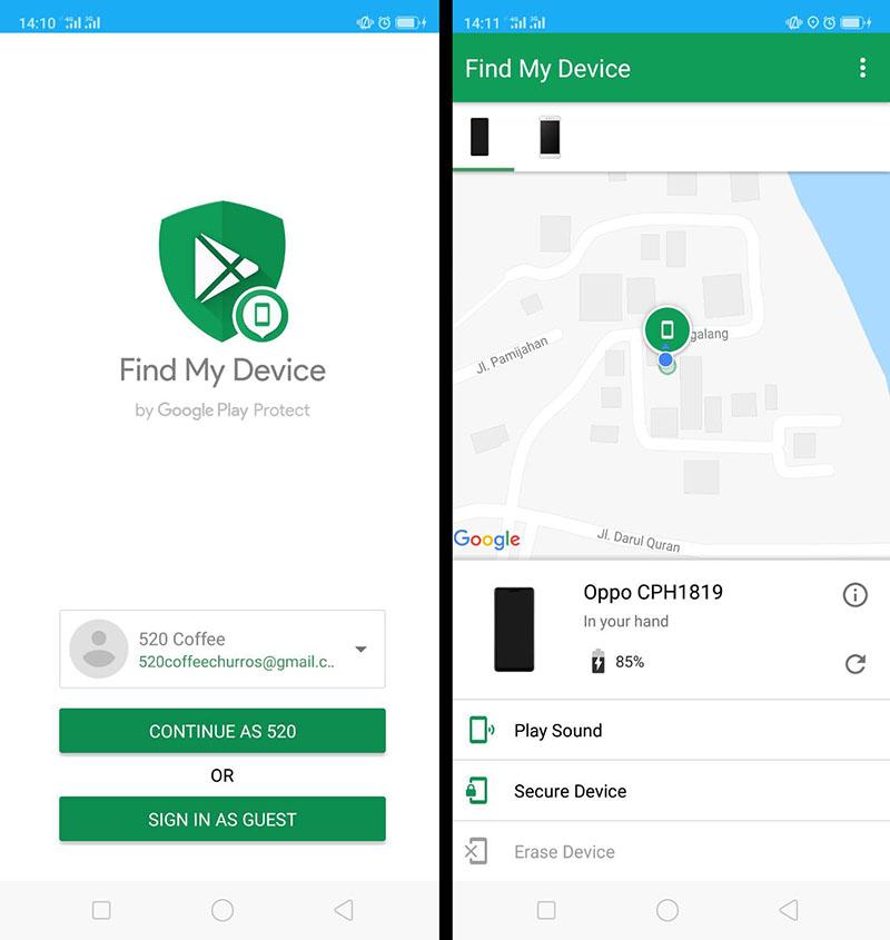 Terhubung ke maps dari find my device