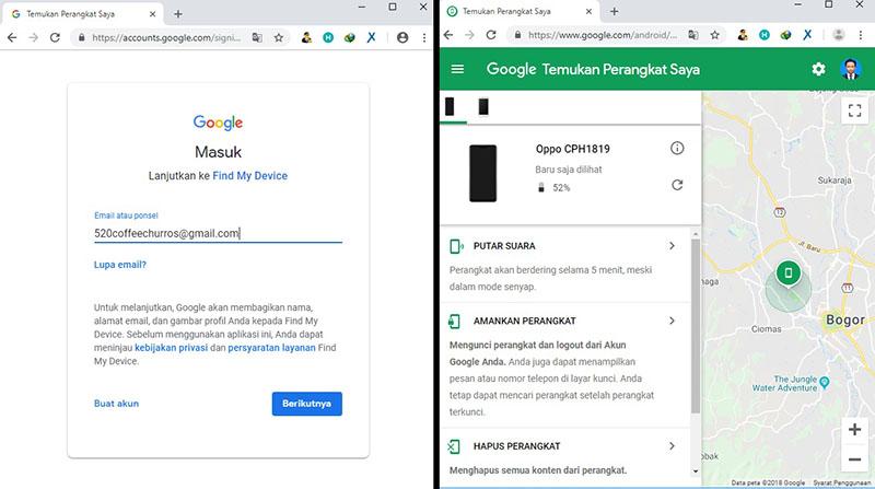 login google - find my device