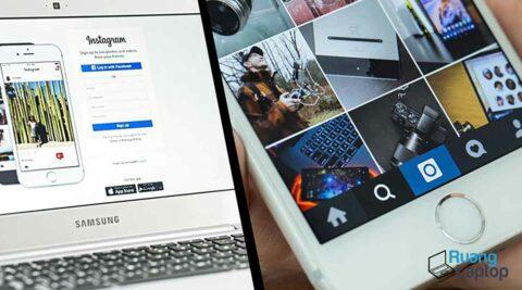 upload foto instagram di laptop