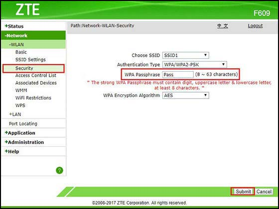 ZTE Network WLAN Security