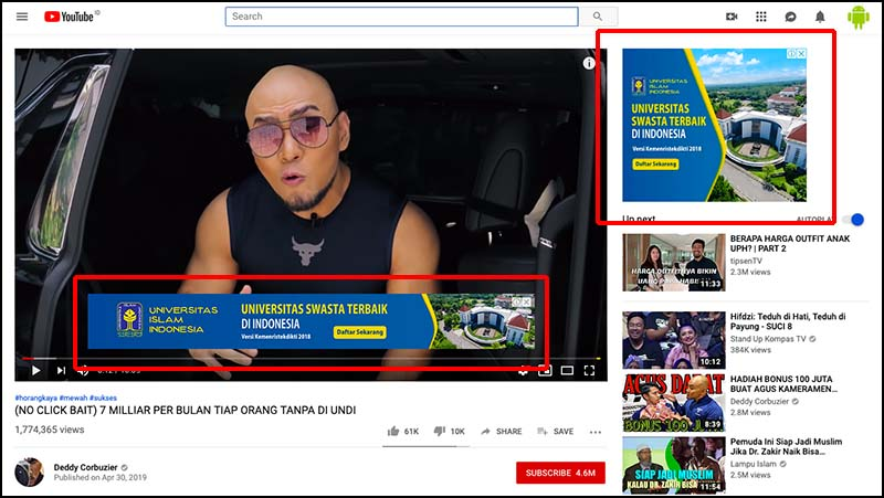 Deddy Corbuzier Youtube Ads
