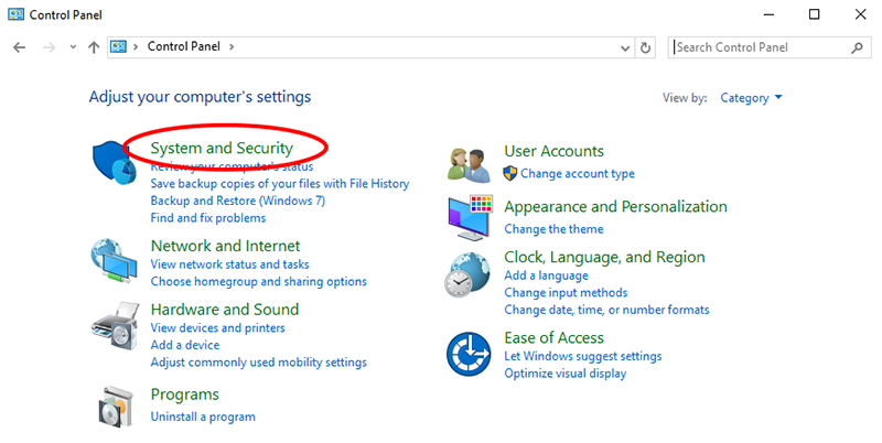 System and Security Windows setting