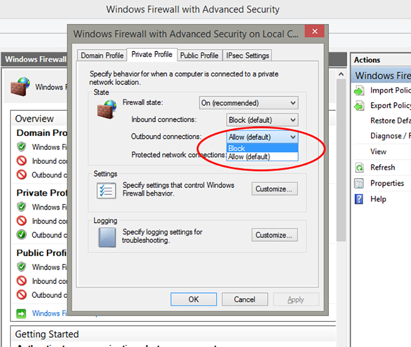 IPSec Setting windows