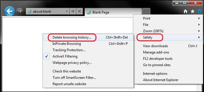 Delete history internet explorer