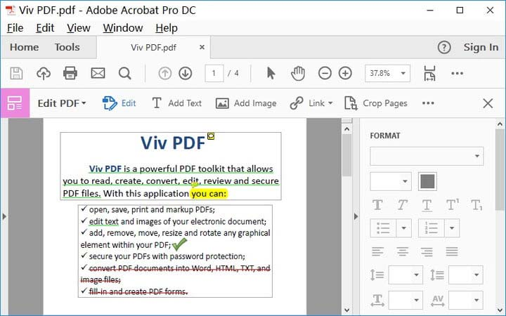 Edit PDF di Adobe Acrobat