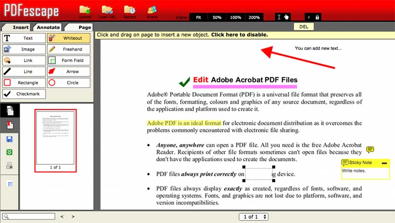 Edit PDF di PDFescape