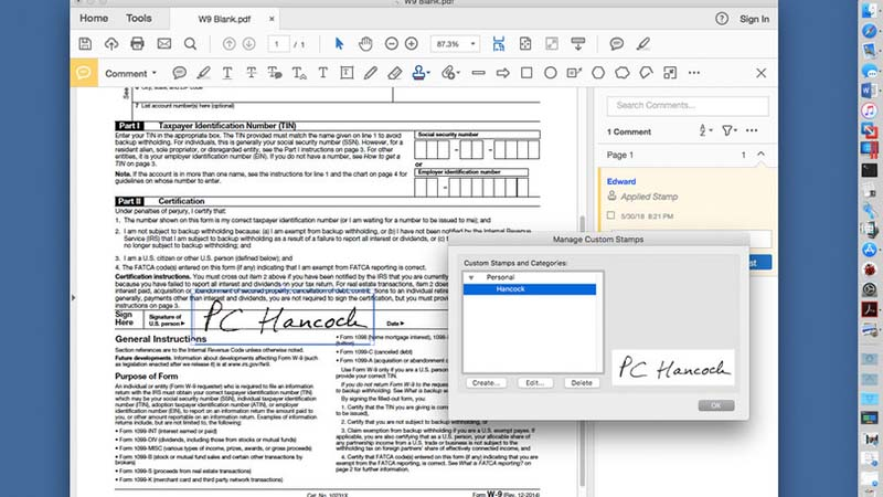 Edit PDF di Preview Mac