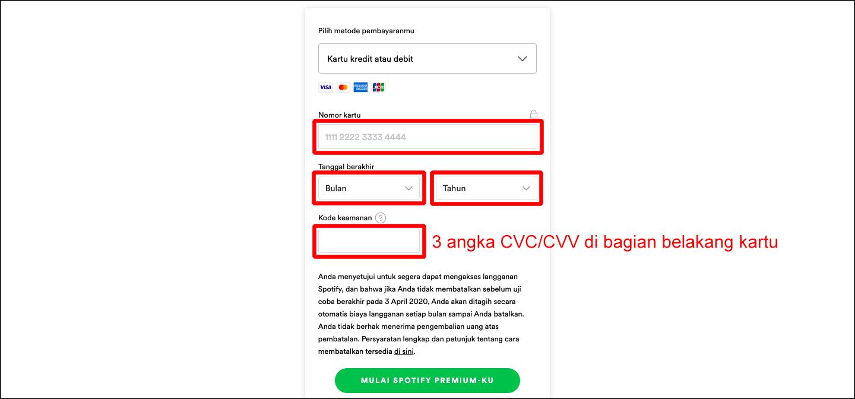 bayar spotify dengan kartu kredit