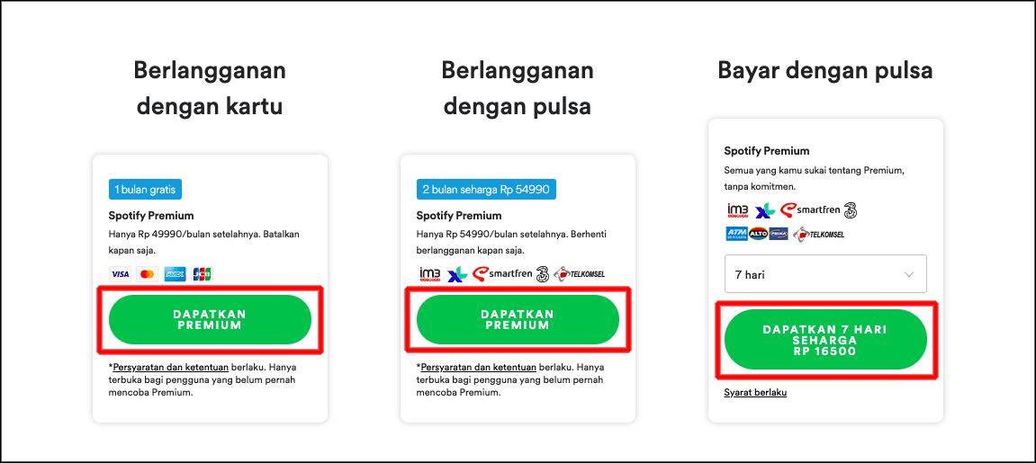 pilih paket premium spotify