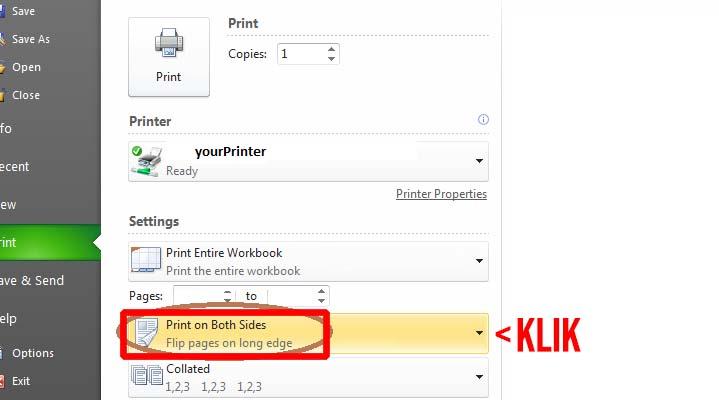 Print bolak balik Excel