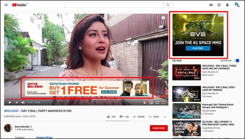 karin novilda youtube ads