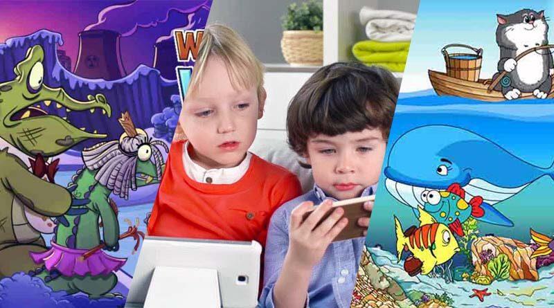 Anak kecil main game edukasi