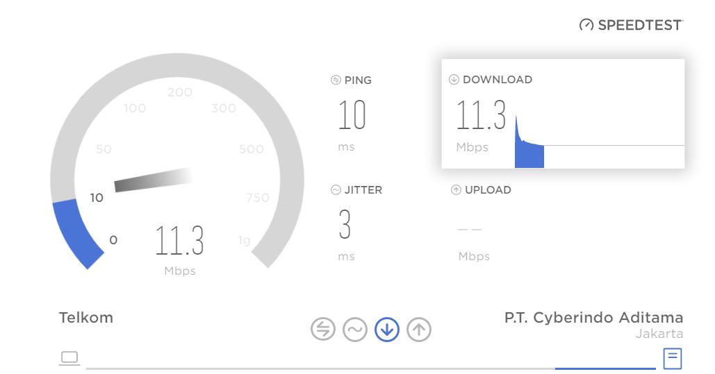 cara cek kecepatan internet CBN Speedtest
