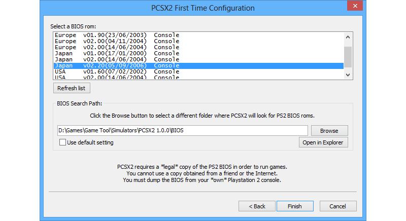 pcsx2 konfigurasi pertama kali
