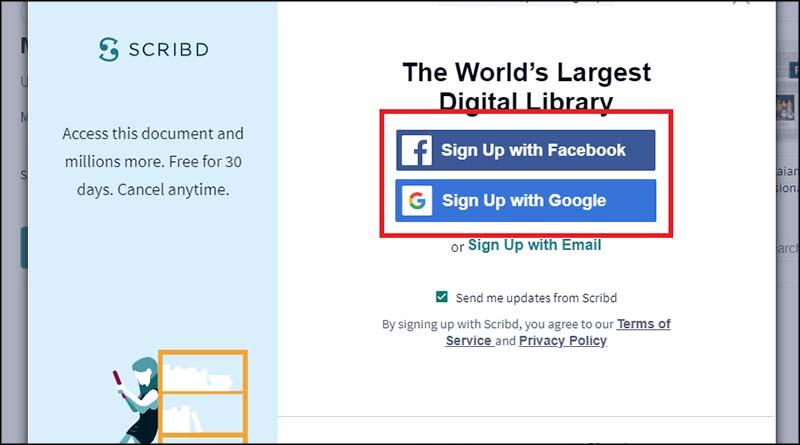 Cara Download Scribd dengan membuat akun Scribd 2