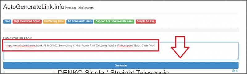 Cara Download Scribd dengan menggunakan AutoGenerateLink.info