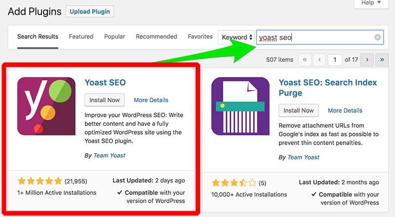 instal plugin yoast seo
