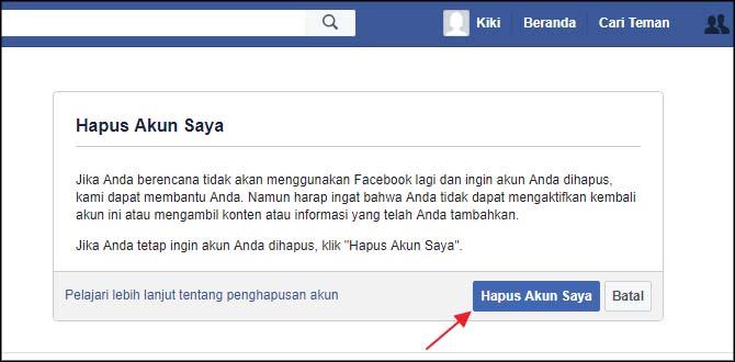 Hapus akun saya facebook