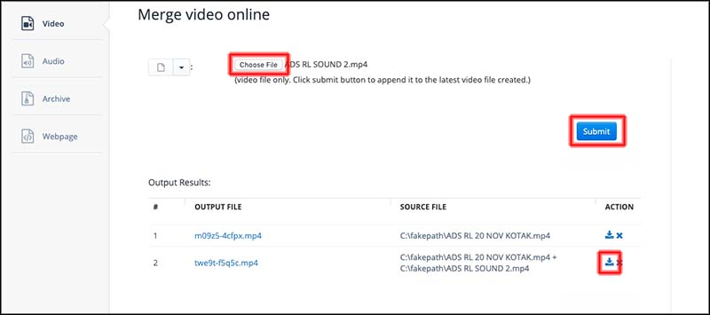 Merge video online aconvert