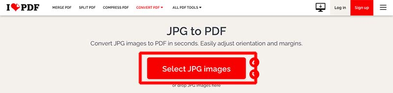Select JPG Images ilovepdf