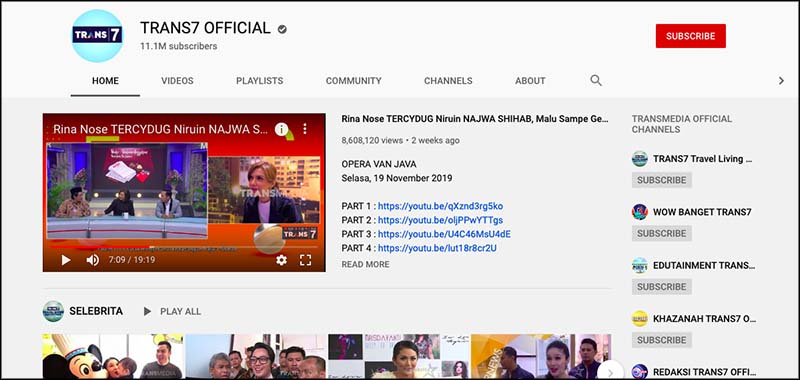 Trans7 official youtube