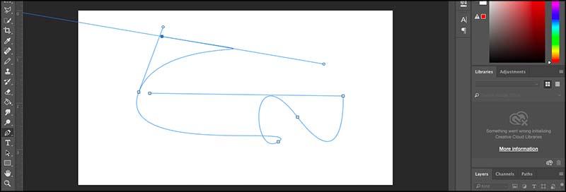 garis melengkung pen tool