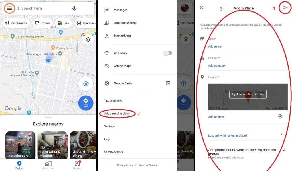 Tambah Lokasi Menggunakan Aplikasi Google Maps di Handphone