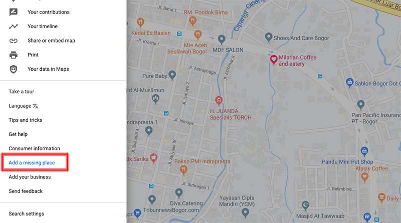 add a missing place desktop web maps
