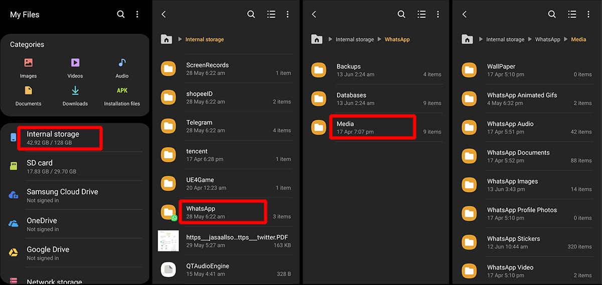 penyimpanan file whatsapp