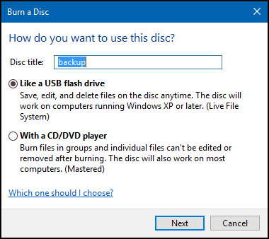 burn a disc