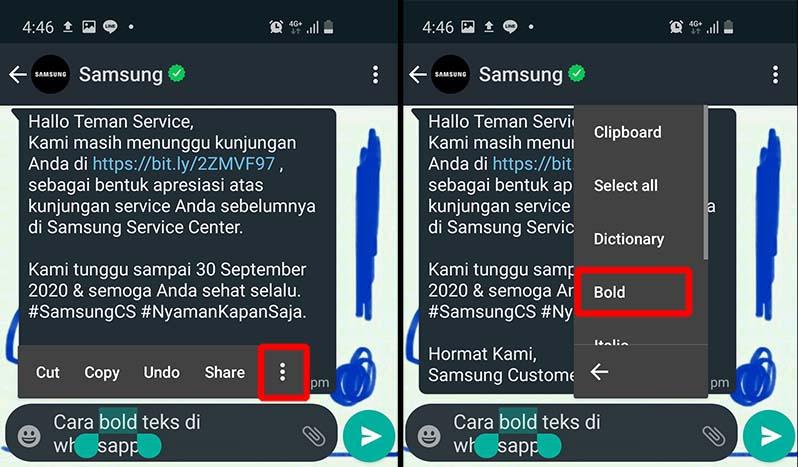 cara bold teks di whatsapp