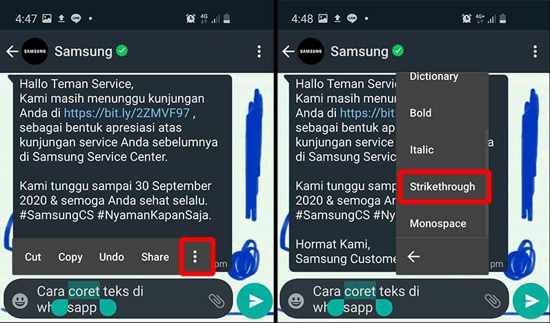 cara coret teks di whatsapp