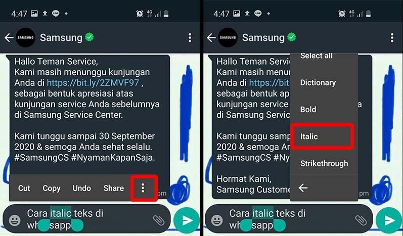 cara ltalic teks di whatsapp