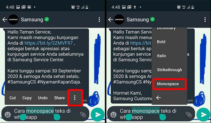 cara monospace teks di whatsapp