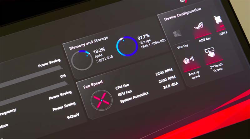 memory storage fan speed Asus ROG Zephyrus Duo 15