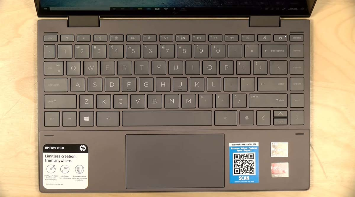 HP Envy x360 13 (2020) keyboard touchpad