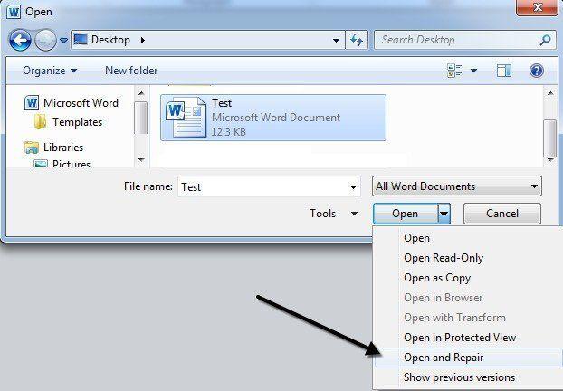Membuka File Word Tersebut dengan Fitur Open and Repair