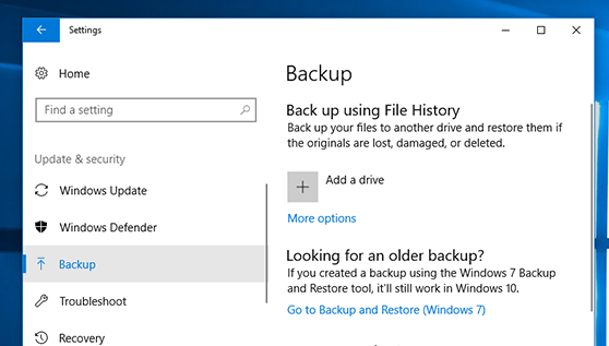 Menggunakan Windows Backup